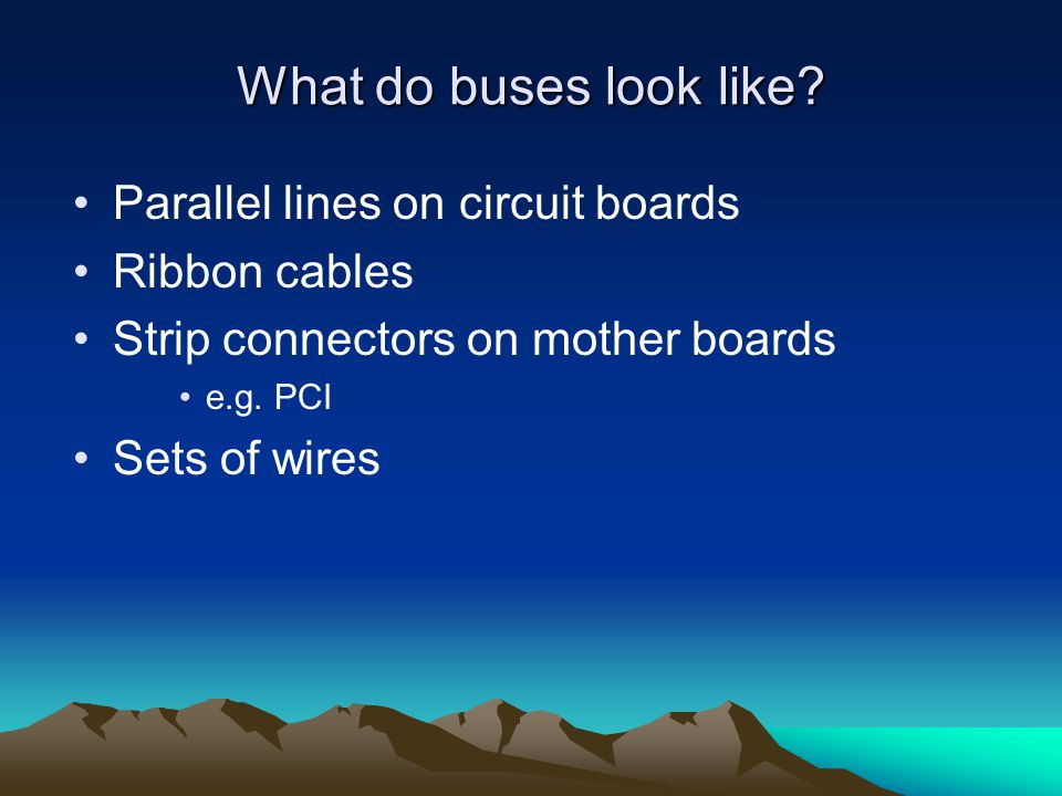 What do buses look like Parallel lines on circuit boards