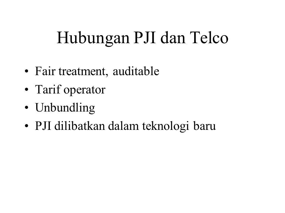 Hubungan PJI dan Telco Fair treatment, auditable Tarif operator