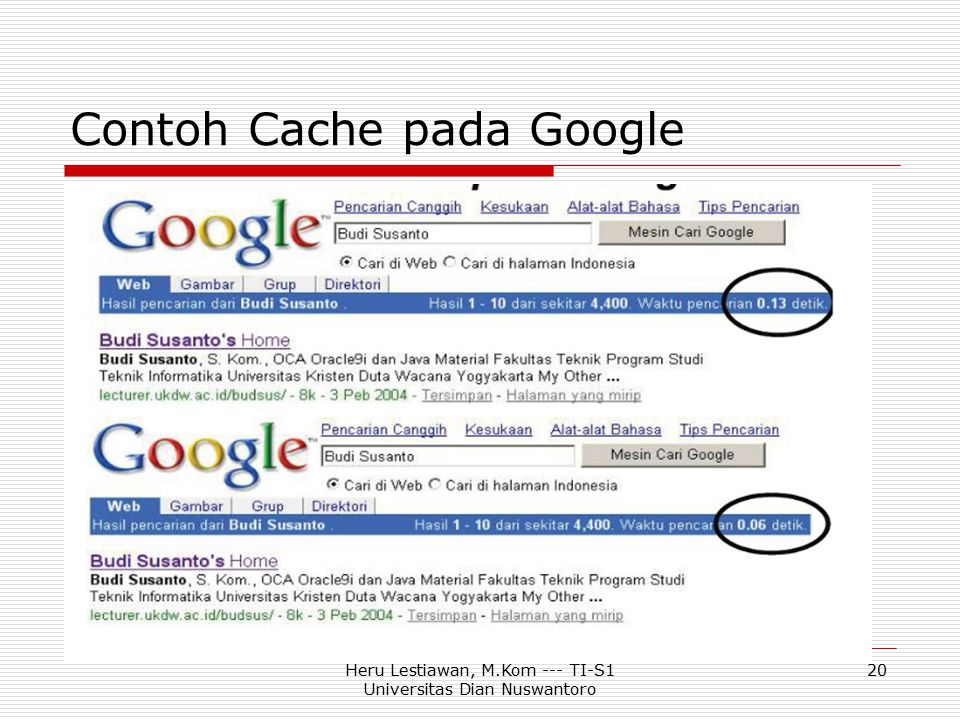 Contoh Cache pada Google