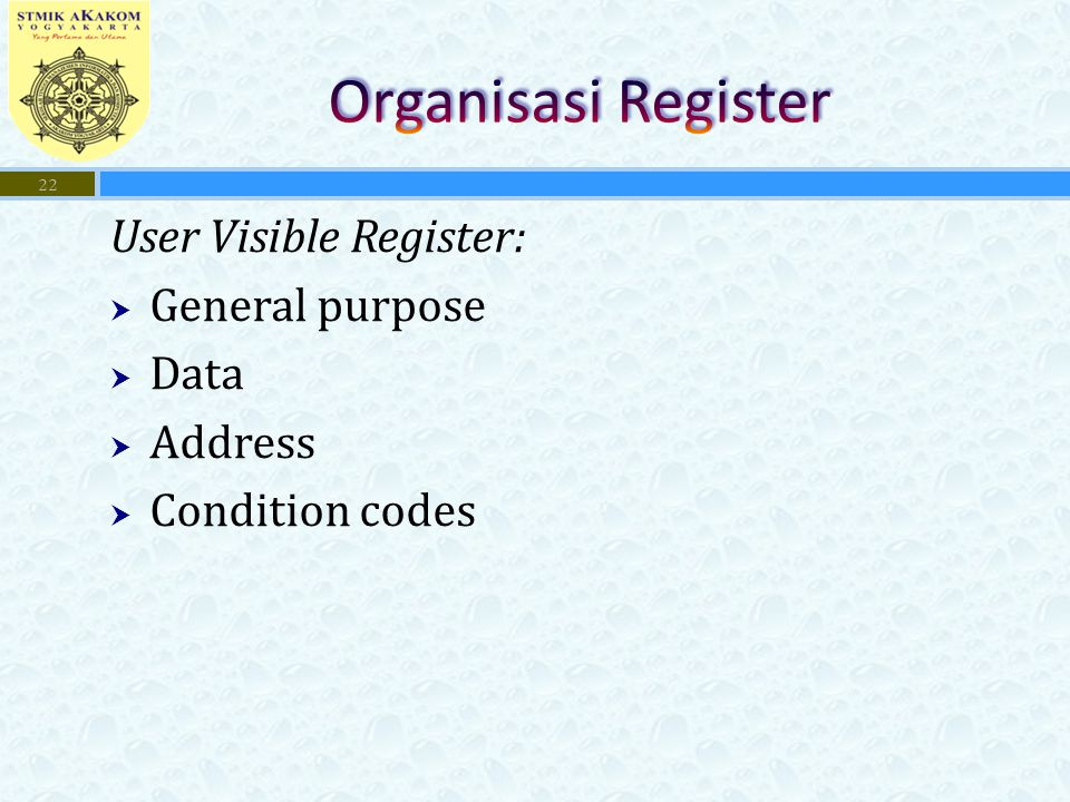 Organisasi Register User Visible Register: General purpose Data