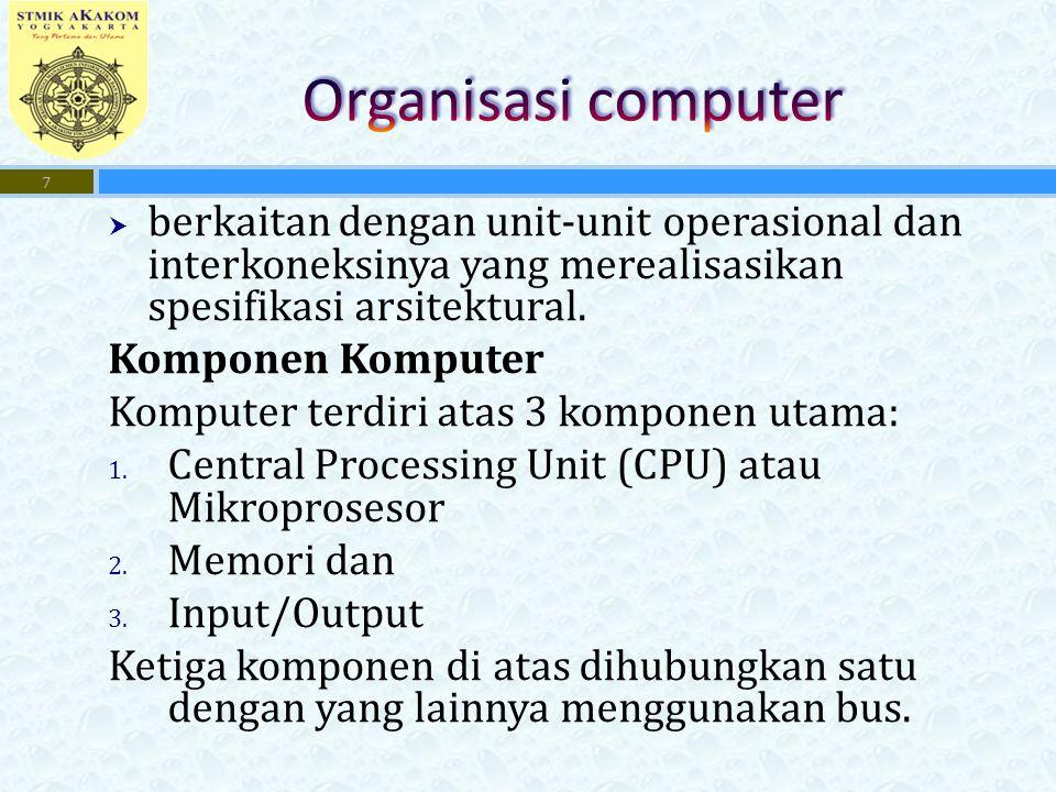 Organisasi computer berkaitan dengan unit-unit operasional dan interkoneksinya yang merealisasikan spesifikasi arsitektural.