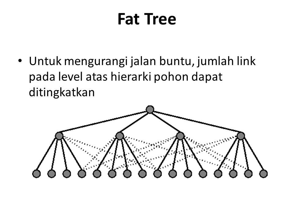 Fat Tree Untuk mengurangi jalan buntu, jumlah link pada level atas hierarki pohon dapat ditingkatkan.