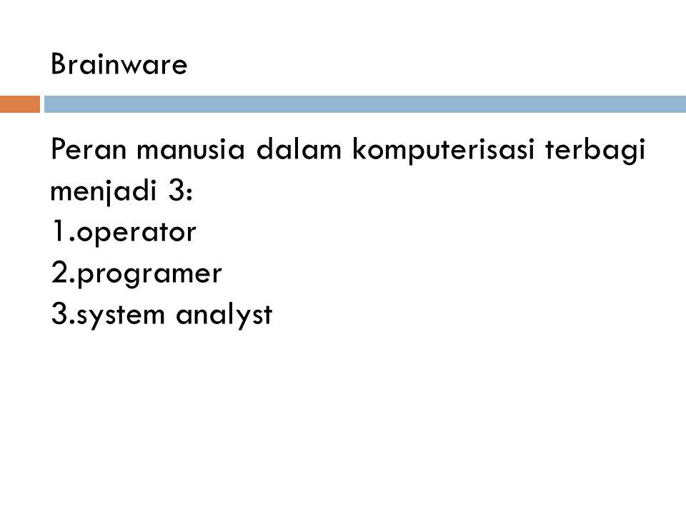 Brainware Peran manusia dalam komputerisasi terbagi menjadi 3: operator programer system analyst