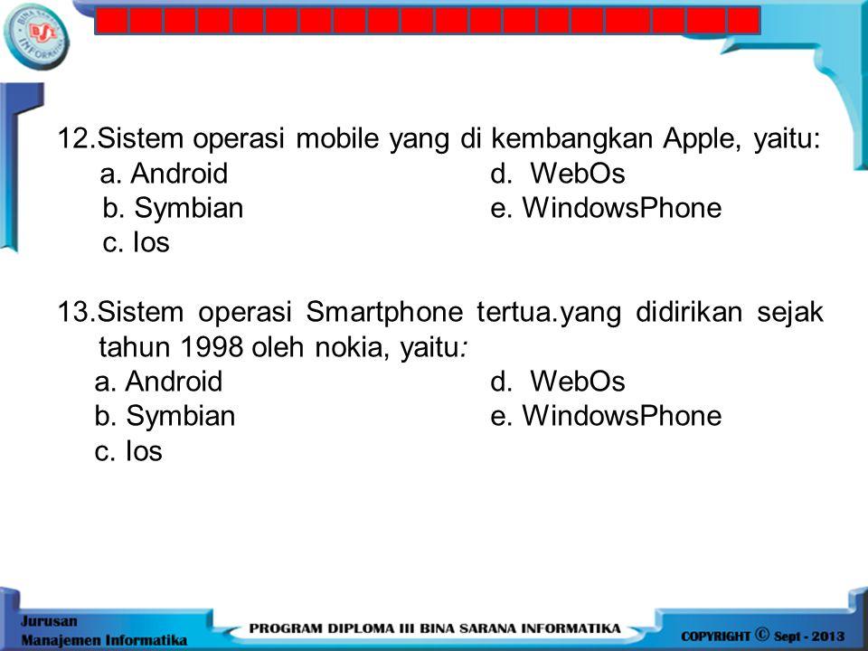12.Sistem operasi mobile yang di kembangkan Apple, yaitu: