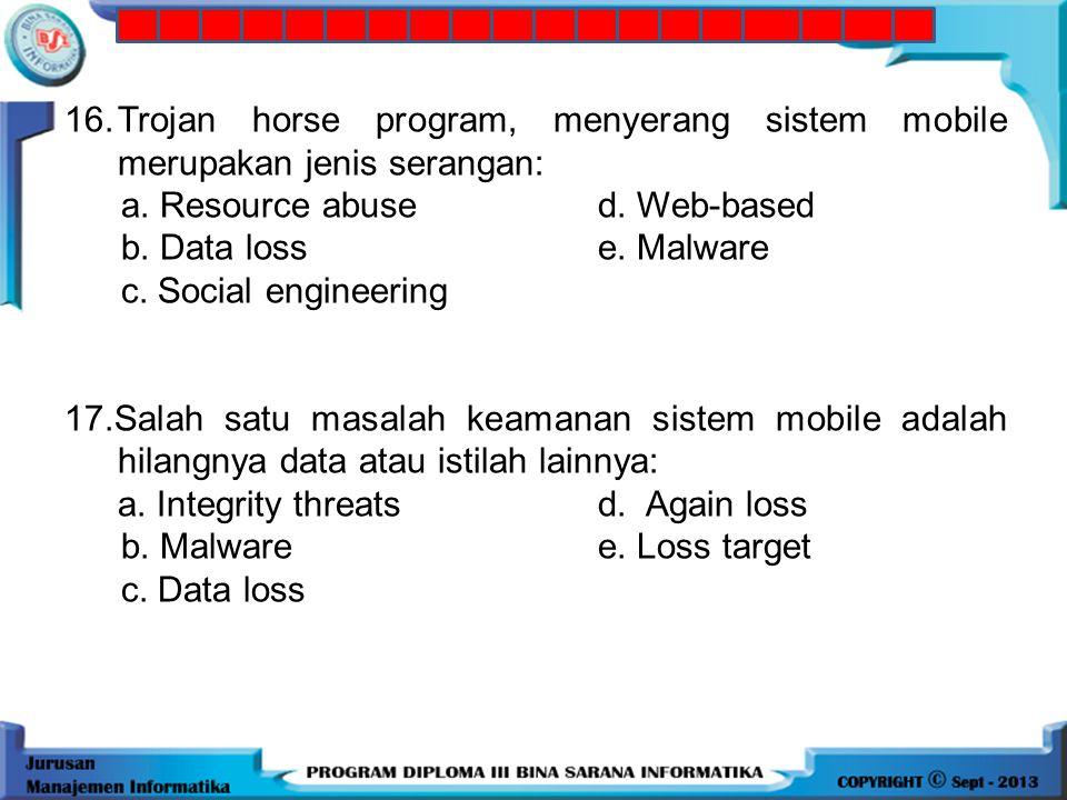 16. Trojan horse program, menyerang sistem mobile merupakan jenis serangan: