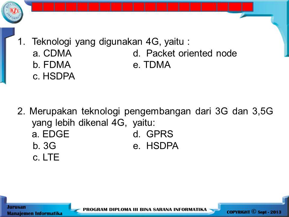 1. Teknologi yang digunakan 4G, yaitu :