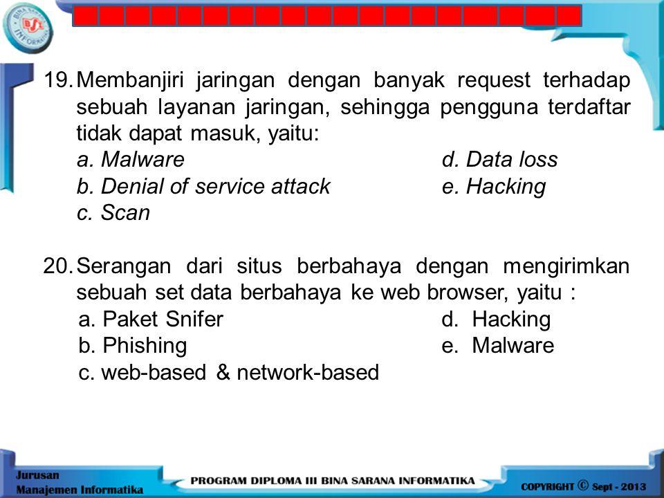 19. Membanjiri jaringan dengan banyak request terhadap sebuah layanan jaringan, sehingga pengguna terdaftar tidak dapat masuk, yaitu: