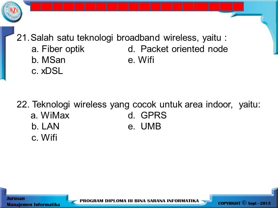21. Salah satu teknologi broadband wireless, yaitu :