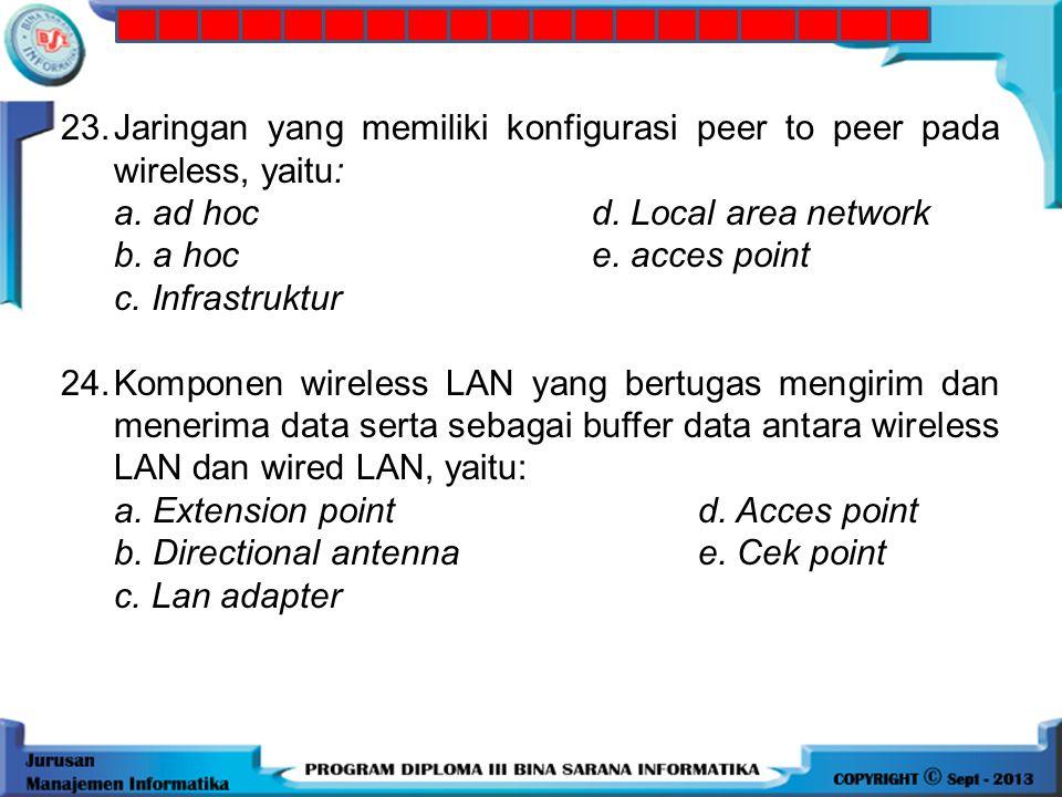 23. Jaringan yang memiliki konfigurasi peer to peer pada wireless, yaitu: