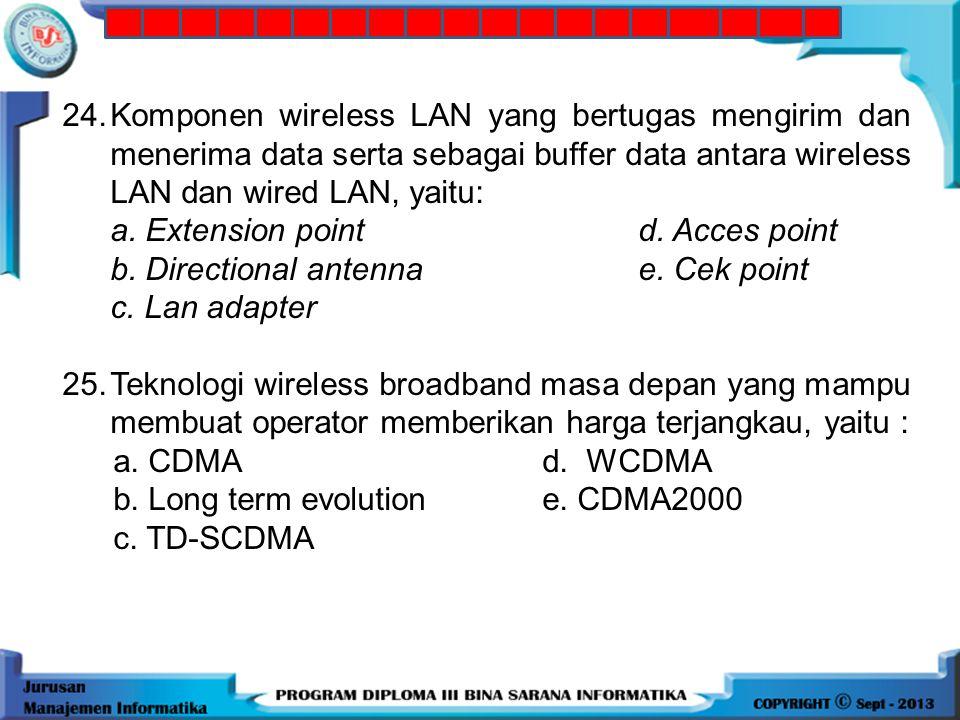 24. Komponen wireless LAN yang bertugas mengirim dan menerima data serta sebagai buffer data antara wireless LAN dan wired LAN, yaitu: