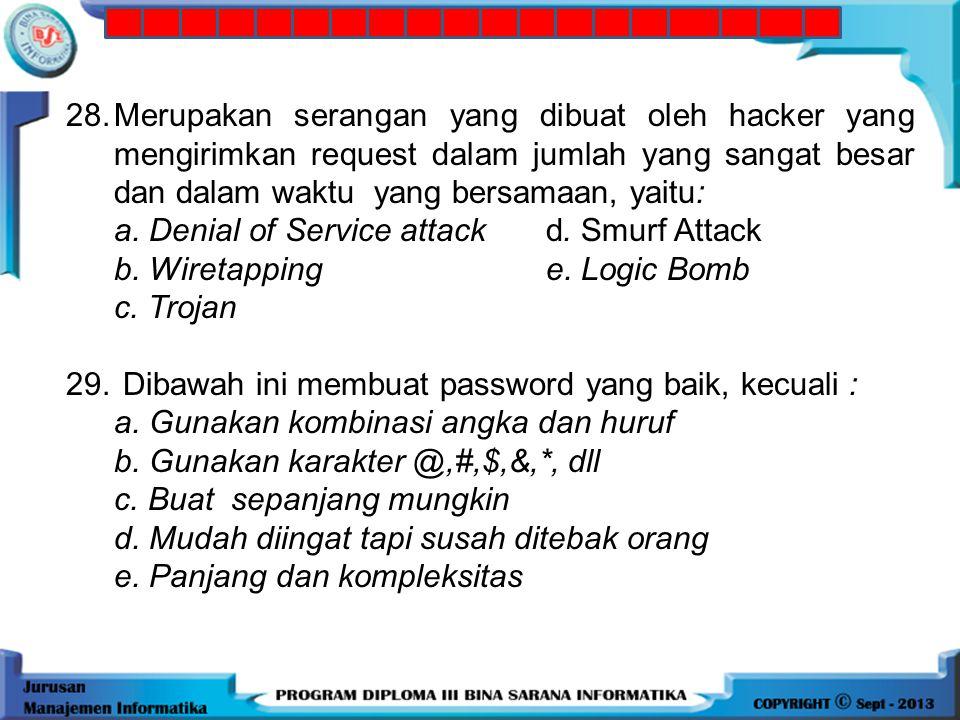 28. Merupakan serangan yang dibuat oleh hacker yang mengirimkan request dalam jumlah yang sangat besar dan dalam waktu yang bersamaan, yaitu: