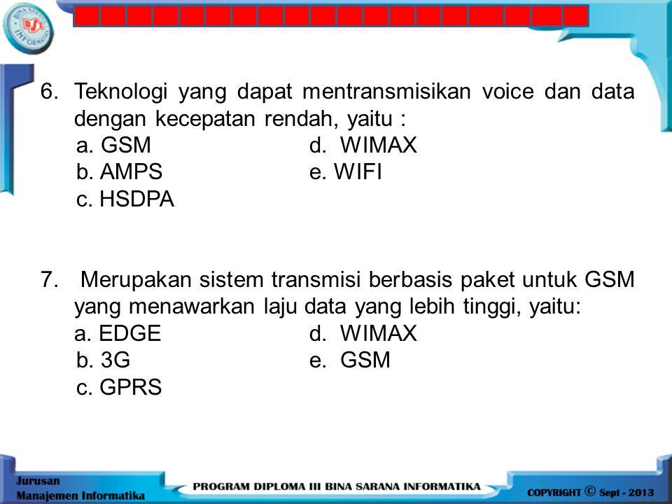 6. Teknologi yang dapat mentransmisikan voice dan data dengan kecepatan rendah, yaitu :