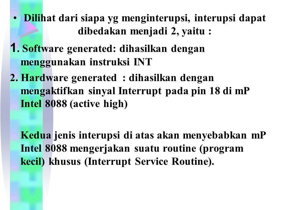 1. Software generated: dihasilkan dengan menggunakan instruksi INT