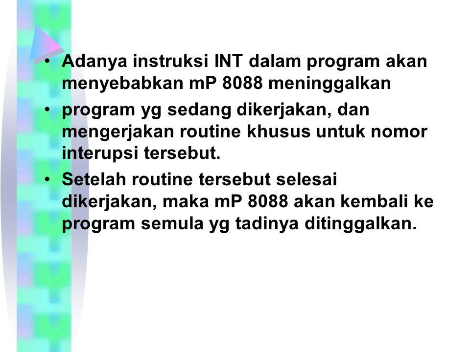 Adanya instruksi INT dalam program akan menyebabkan mP 8088 meninggalkan