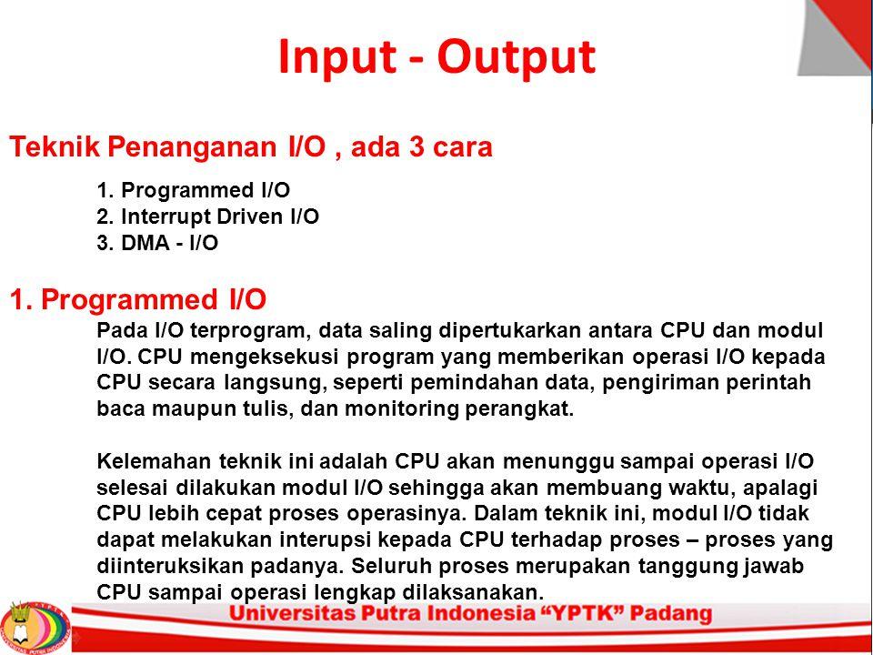 Input - Output Teknik Penanganan I/O , ada 3 cara
