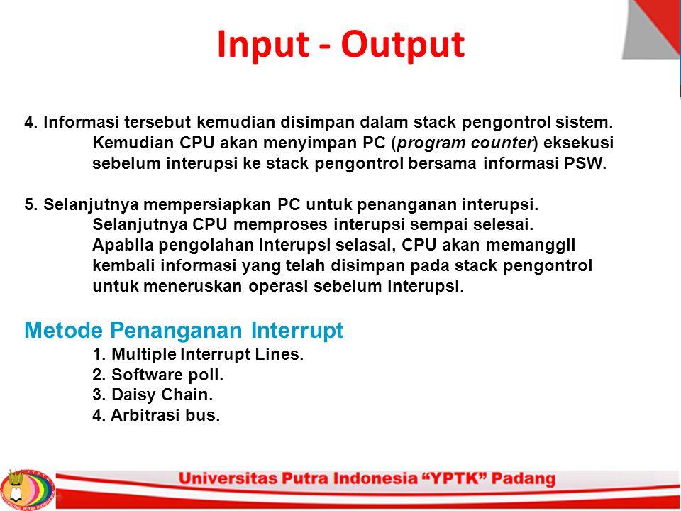Input - Output Metode Penanganan Interrupt