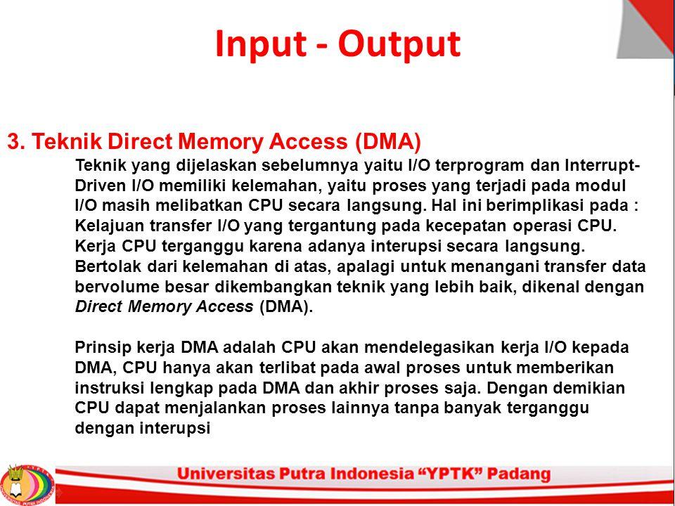 Input - Output 3. Teknik Direct Memory Access (DMA)