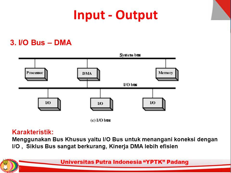 Input - Output 3. I/O Bus – DMA
