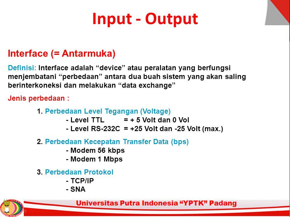 Input - Output Interface (= Antarmuka)