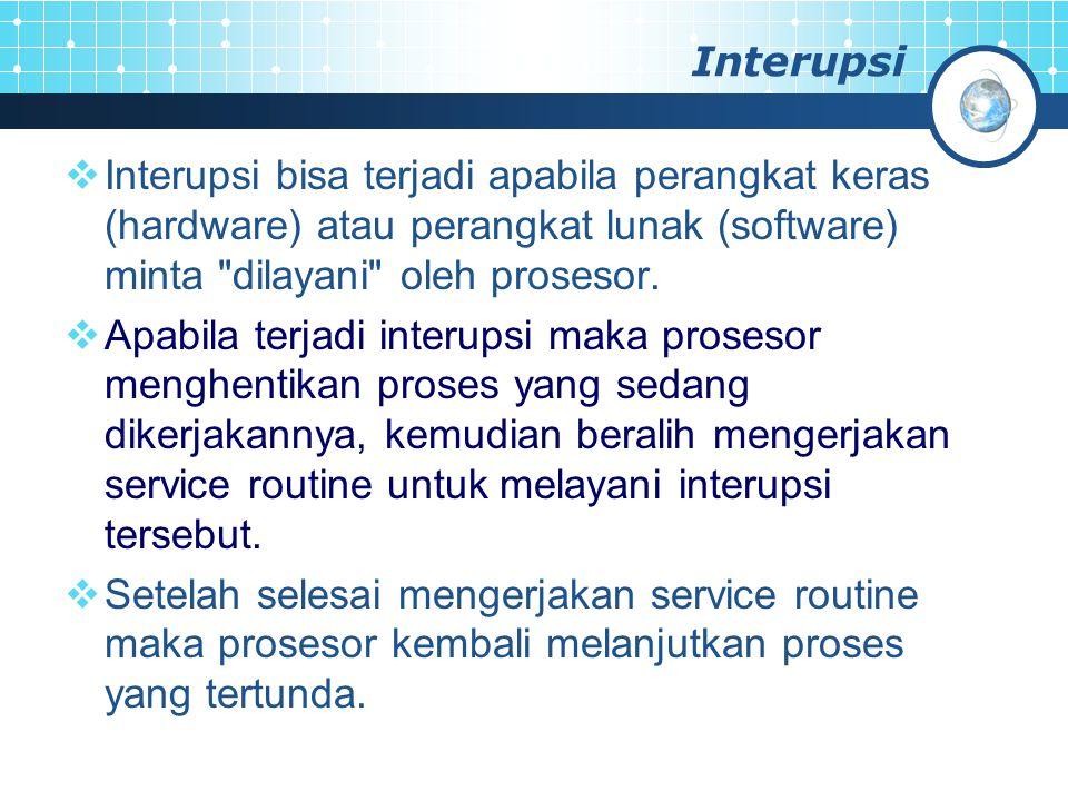 Interupsi Interupsi bisa terjadi apabila perangkat keras (hardware) atau perangkat lunak (software) minta dilayani oleh prosesor.