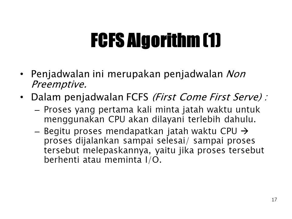 FCFS Algorithm (1) Penjadwalan ini merupakan penjadwalan Non Preemptive. Dalam penjadwalan FCFS (First Come First Serve) :