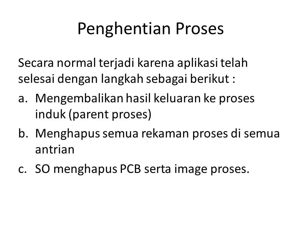 Penghentian Proses Secara normal terjadi karena aplikasi telah selesai dengan langkah sebagai berikut :