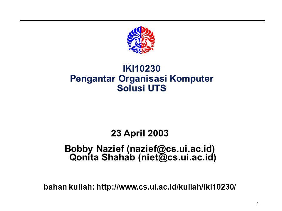 IKI10230 Pengantar Organisasi Komputer Solusi UTS