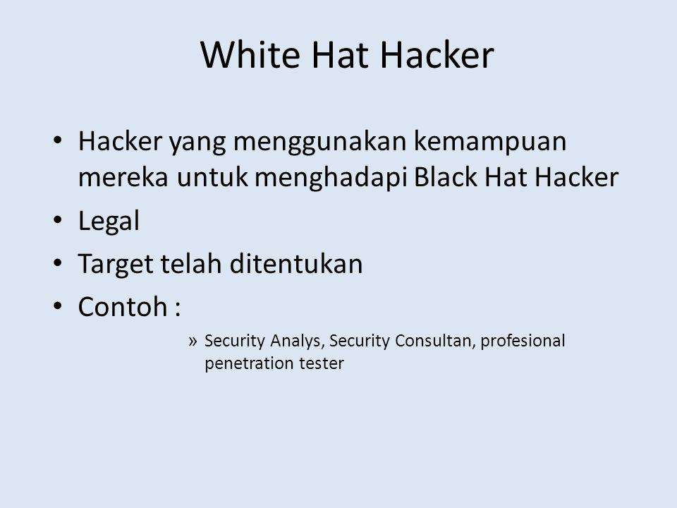 White Hat Hacker Hacker yang menggunakan kemampuan mereka untuk menghadapi Black Hat Hacker. Legal.