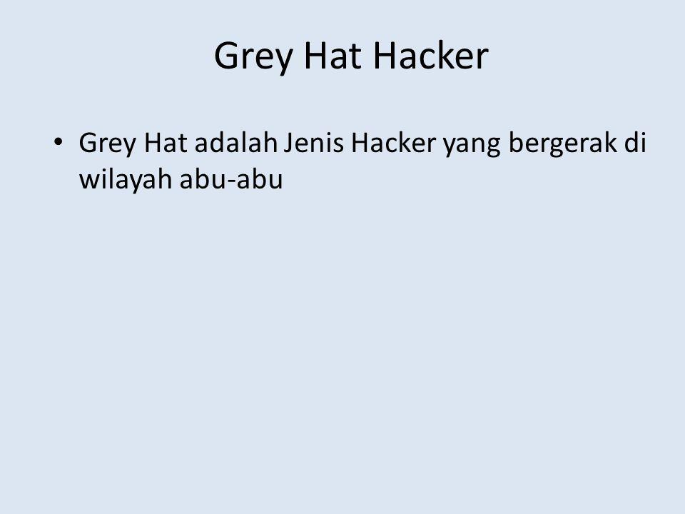 Grey Hat Hacker Grey Hat adalah Jenis Hacker yang bergerak di wilayah abu-abu