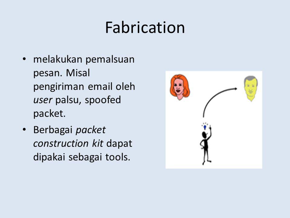 Fabrication melakukan pemalsuan pesan. Misal pengiriman email oleh user palsu, spoofed packet.