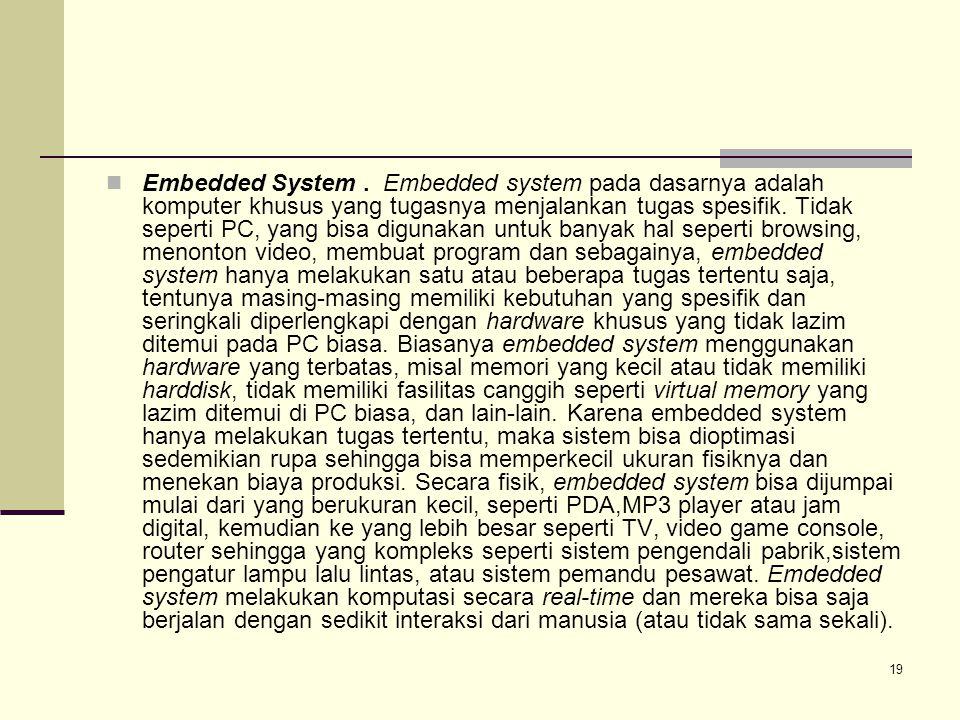 Embedded System . Embedded system pada dasarnya adalah komputer khusus yang tugasnya menjalankan tugas spesifik.