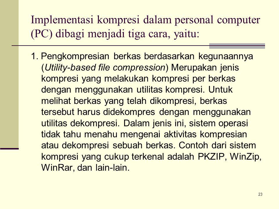 Implementasi kompresi dalam personal computer (PC) dibagi menjadi tiga cara, yaitu: