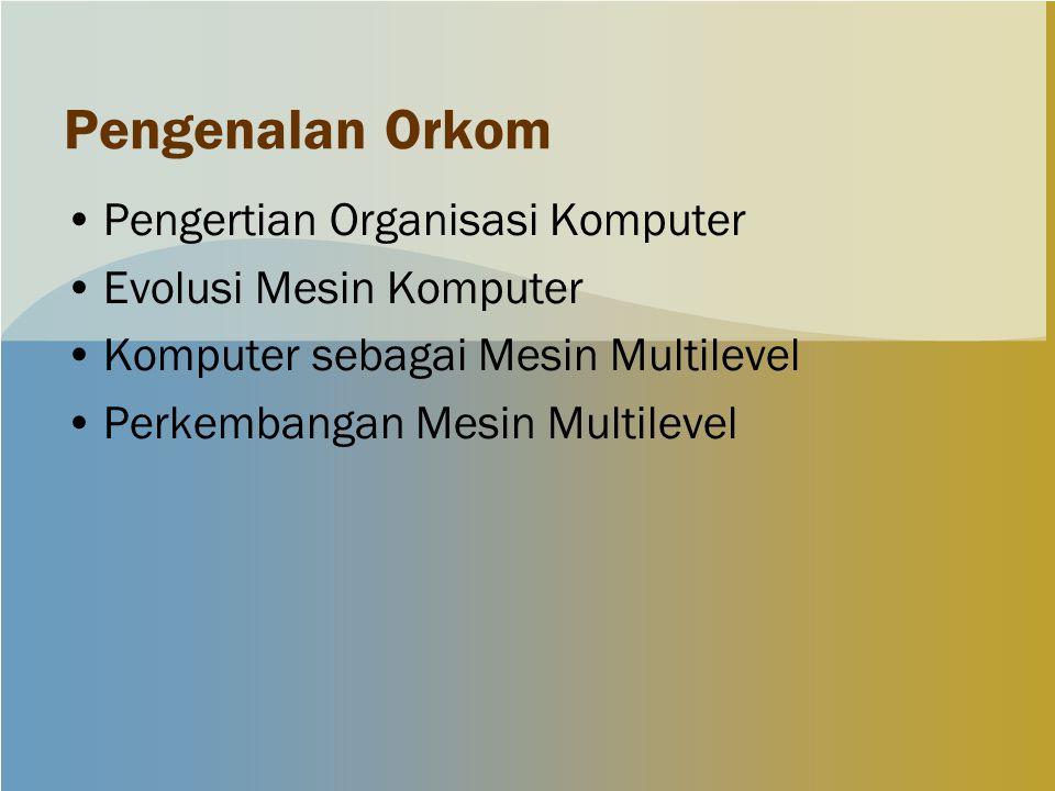 Pengenalan Orkom Pengertian Organisasi Komputer Evolusi Mesin Komputer