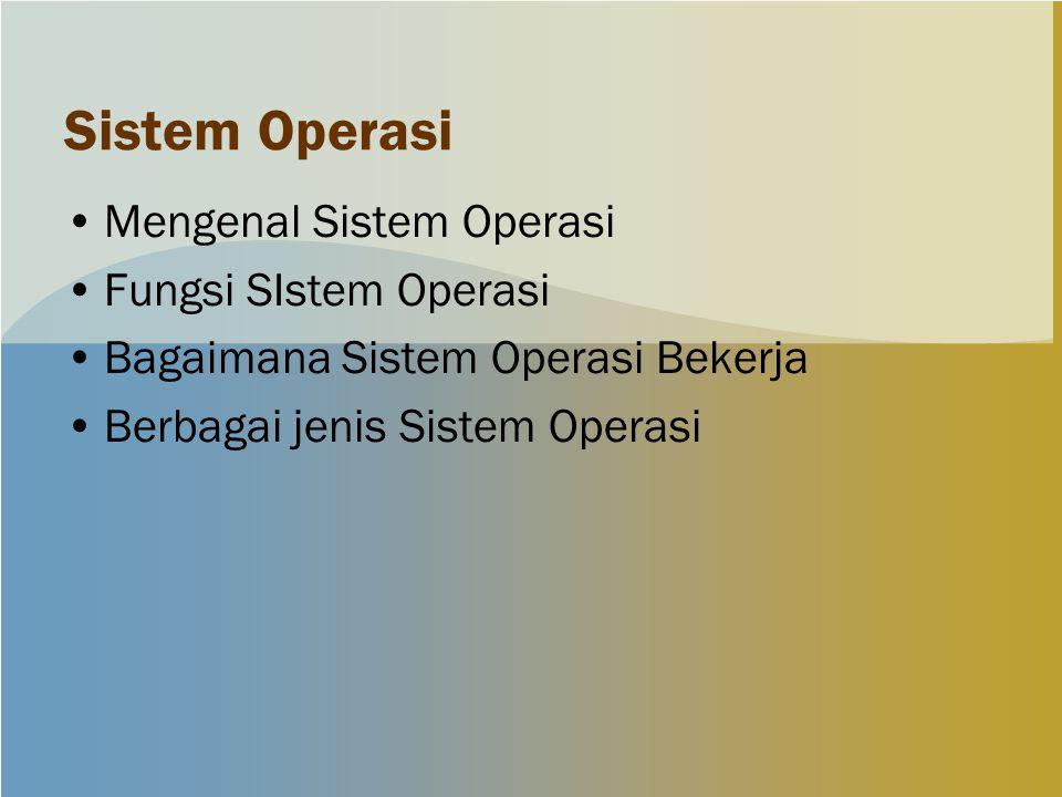 Sistem Operasi Mengenal Sistem Operasi Fungsi SIstem Operasi