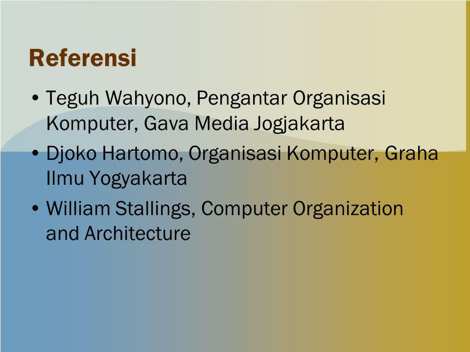 Referensi Teguh Wahyono, Pengantar Organisasi Komputer, Gava Media Jogjakarta. Djoko Hartomo, Organisasi Komputer, Graha Ilmu Yogyakarta.