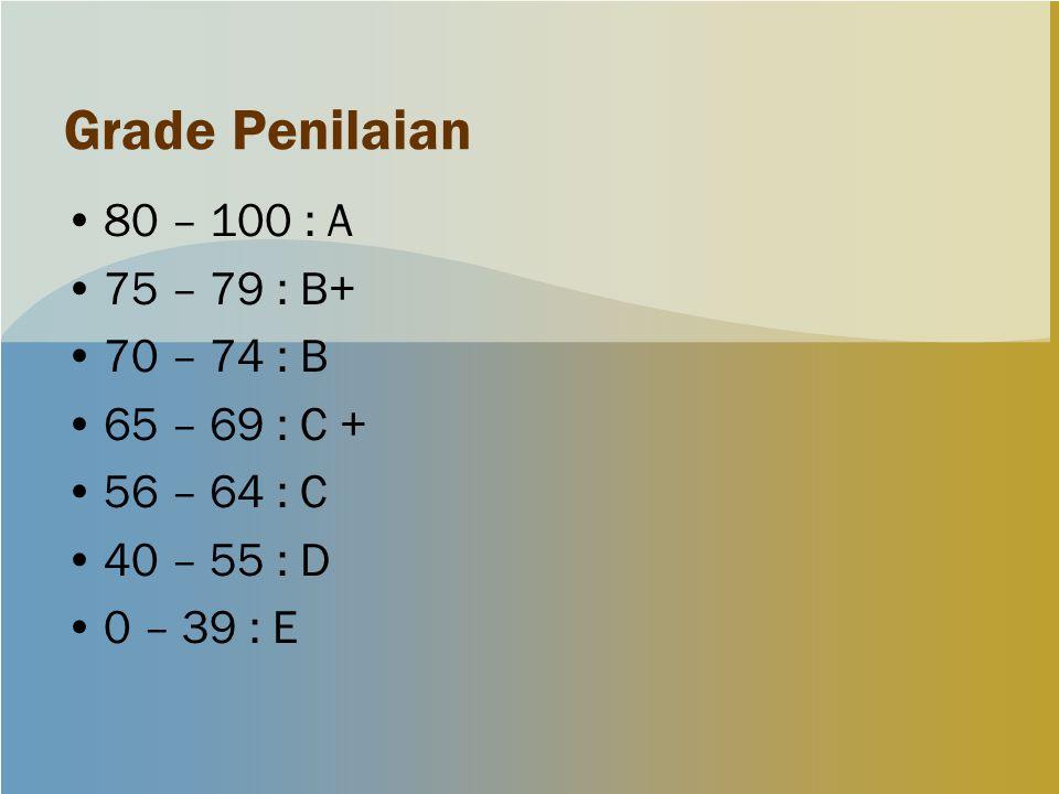 Grade Penilaian 80 – 100 : A 75 – 79 : B+ 70 – 74 : B 65 – 69 : C +