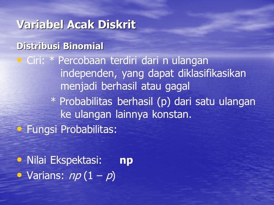 Variabel Acak Diskrit Distribusi Binomial.
