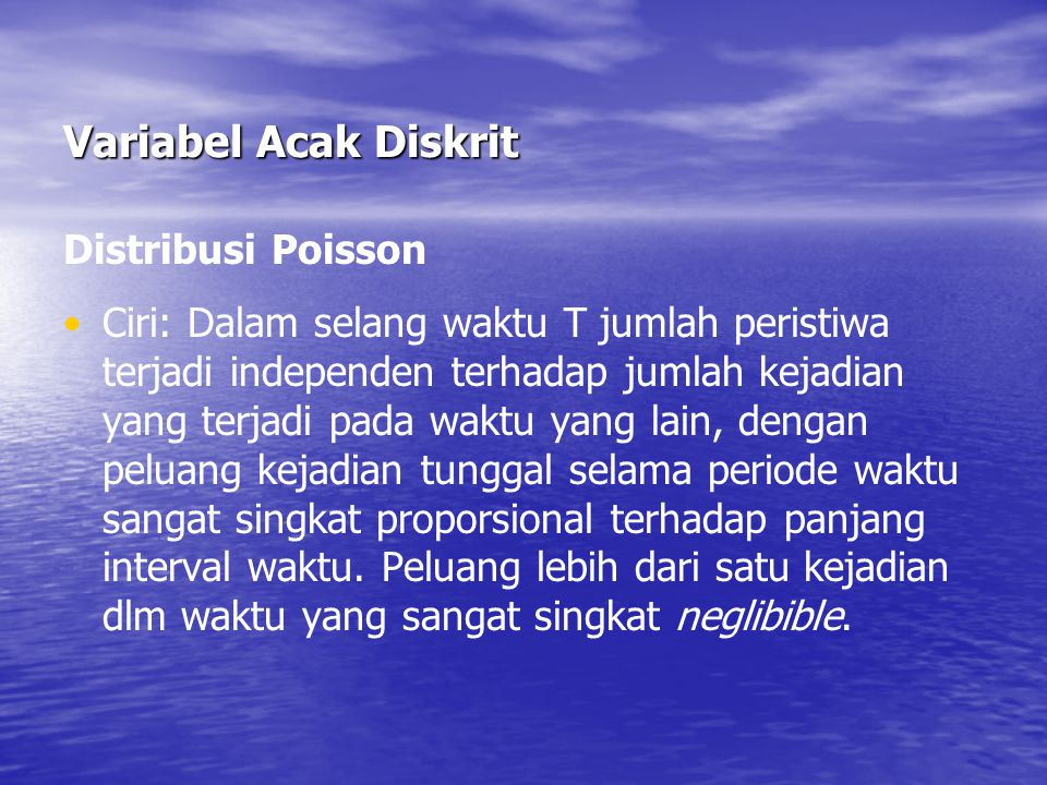 Variabel Acak Diskrit Distribusi Poisson