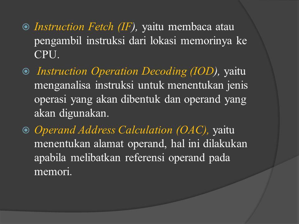 Instruction Fetch (IF), yaitu membaca atau pengambil instruksi dari lokasi memorinya ke CPU.