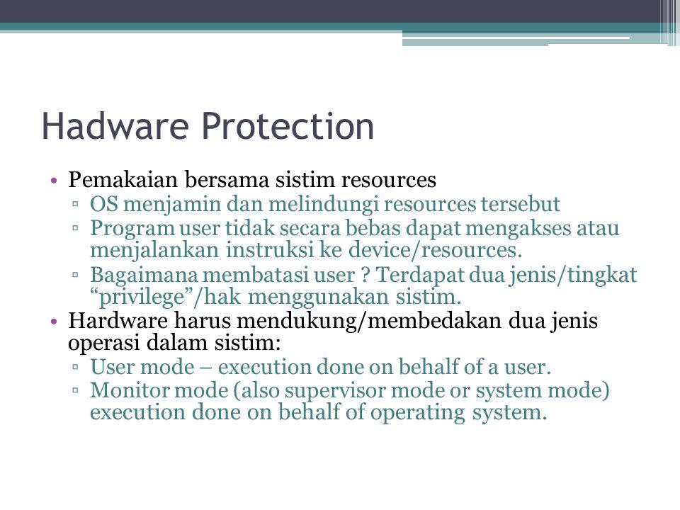 Hadware Protection Pemakaian bersama sistim resources