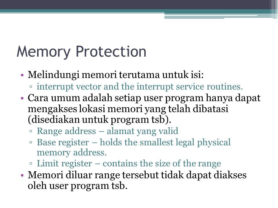 Memory Protection Melindungi memori terutama untuk isi: