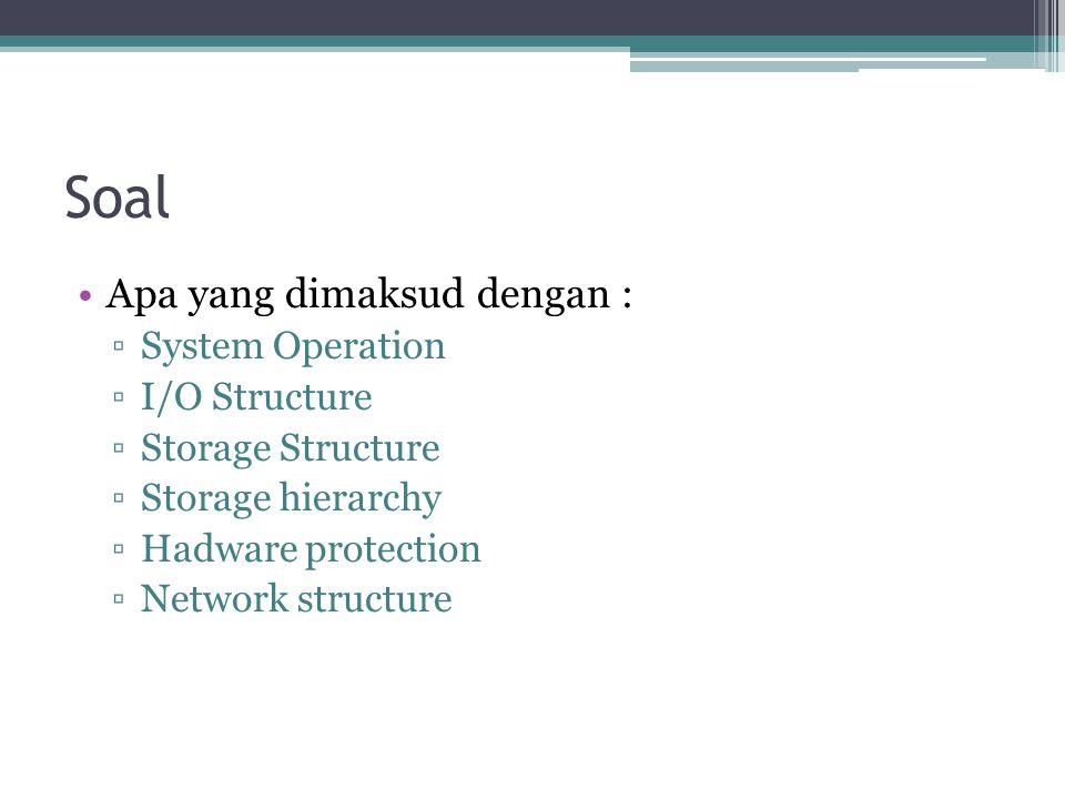 Soal Apa yang dimaksud dengan : System Operation I/O Structure