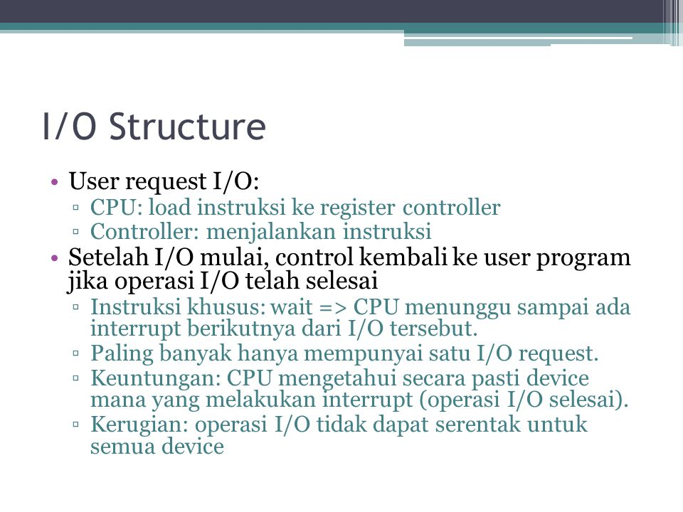 I/O Structure User request I/O: