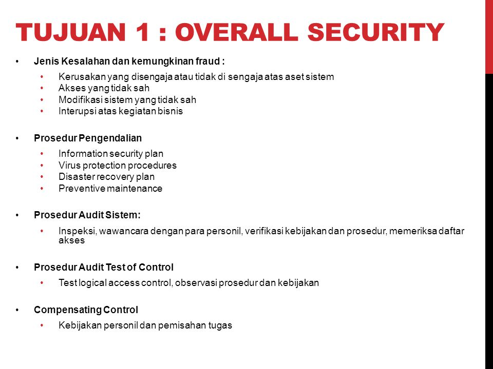 Tujuan 1 : overall security