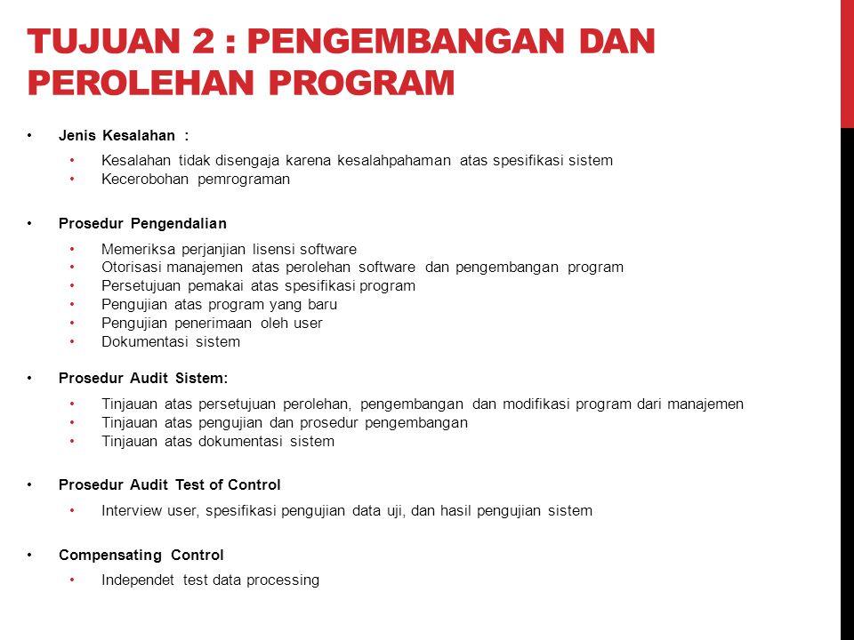 Tujuan 2 : pengembangan dan perolehan program