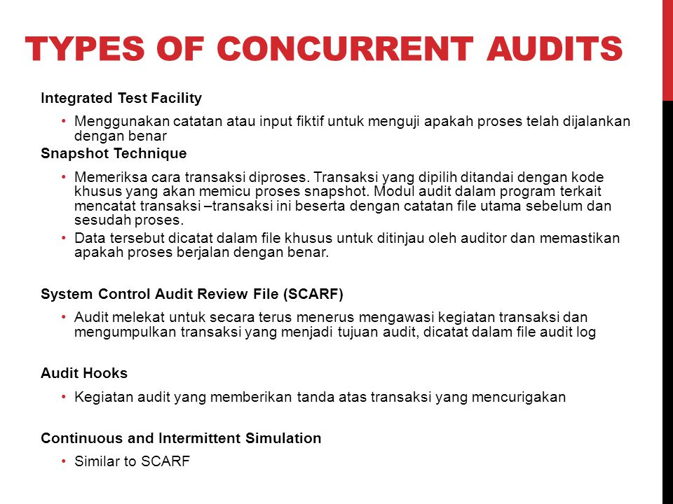 Types of Concurrent Audits