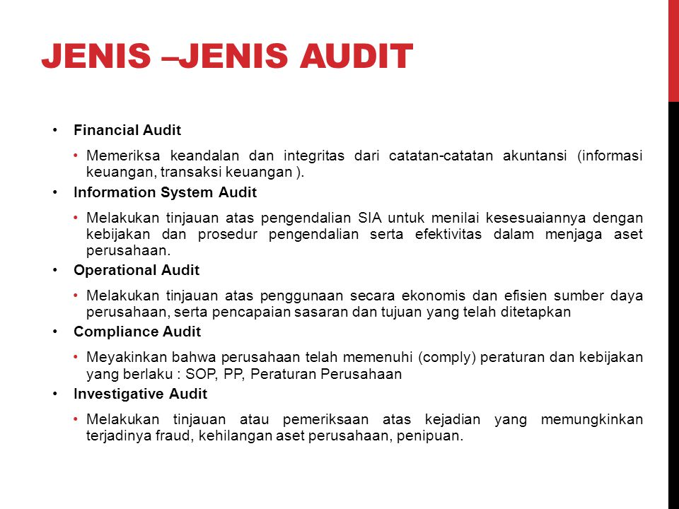 Jenis –jenis audit Financial Audit