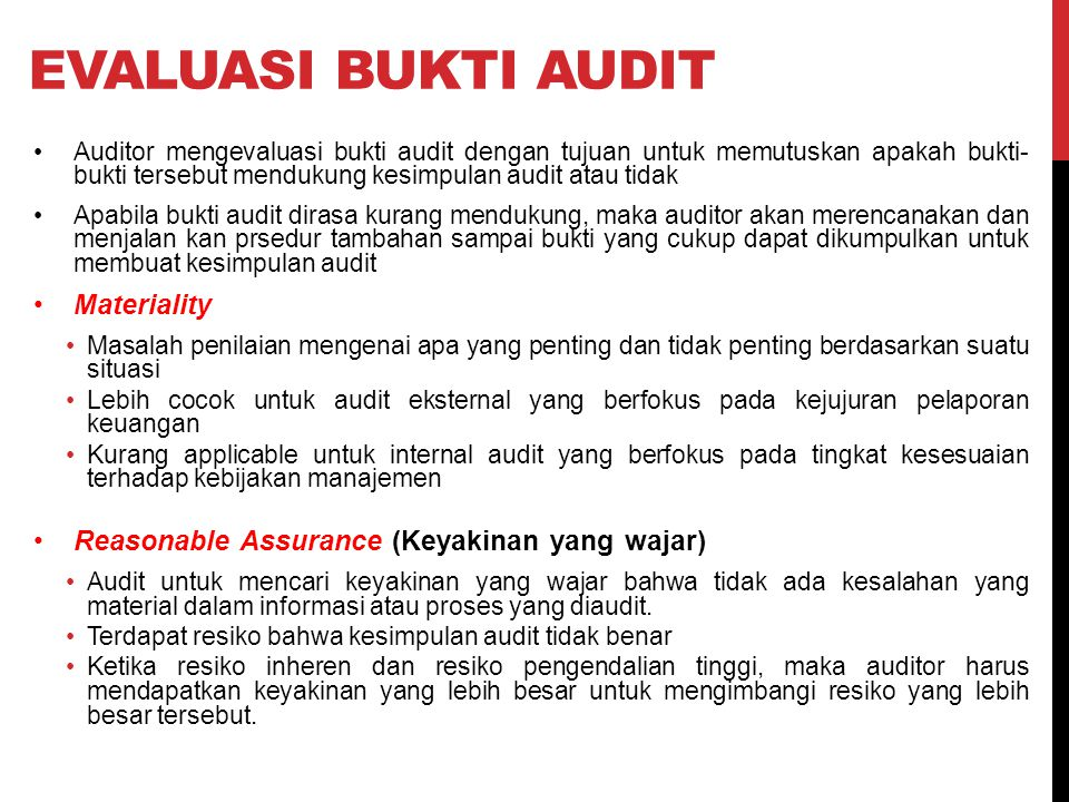 Evaluasi bukti audit Materiality