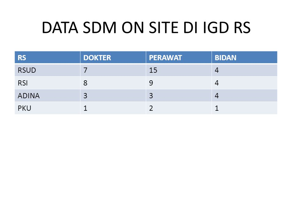 DATA SDM ON SITE DI IGD RS
