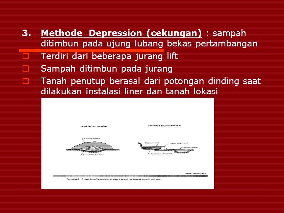 Methode Depression (cekungan) : sampah ditimbun pada ujung lubang bekas pertambangan
